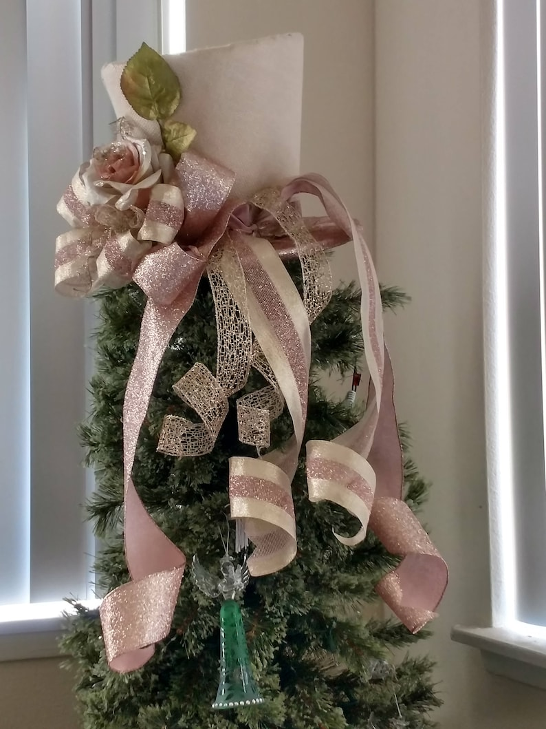 50edcfd7879 Extra large Burlap Top Hat Christmas Tree Topper Bow FREE