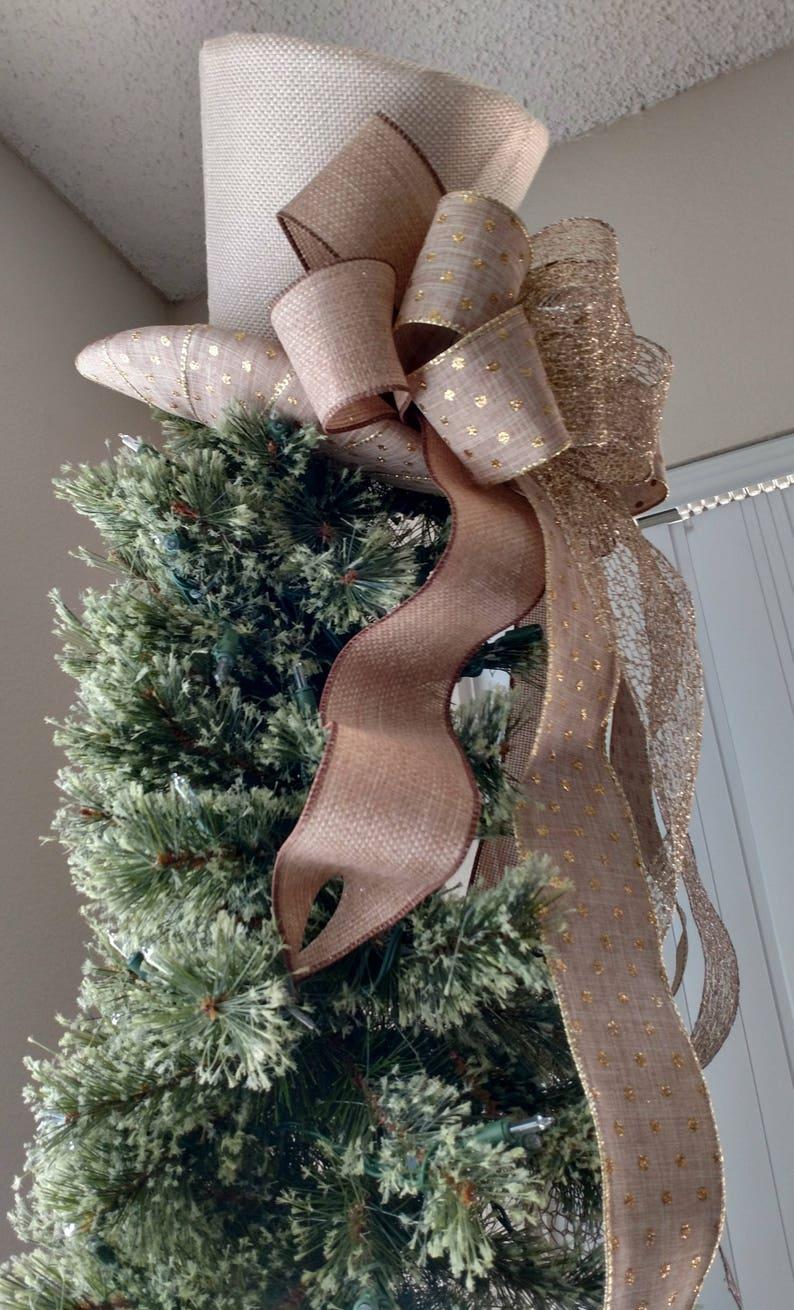 e32fbd195e9 Burlap Top Hat Christmas Tree Topper Bow FREE SHIPPING