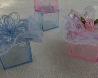 Pink Baby Shower Block Favors - Blue Baby Shower Block Favors -  Baby Girl Shower Favors -  Baby Boy Shower Favors -  **FREE SHIPPING**