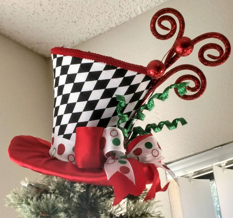 Top Hat Christmas Tree Topper Free Shipping Tree Topper Bow Tree Topper Top Hat Top Hat Tree Topper Christmas Decoration