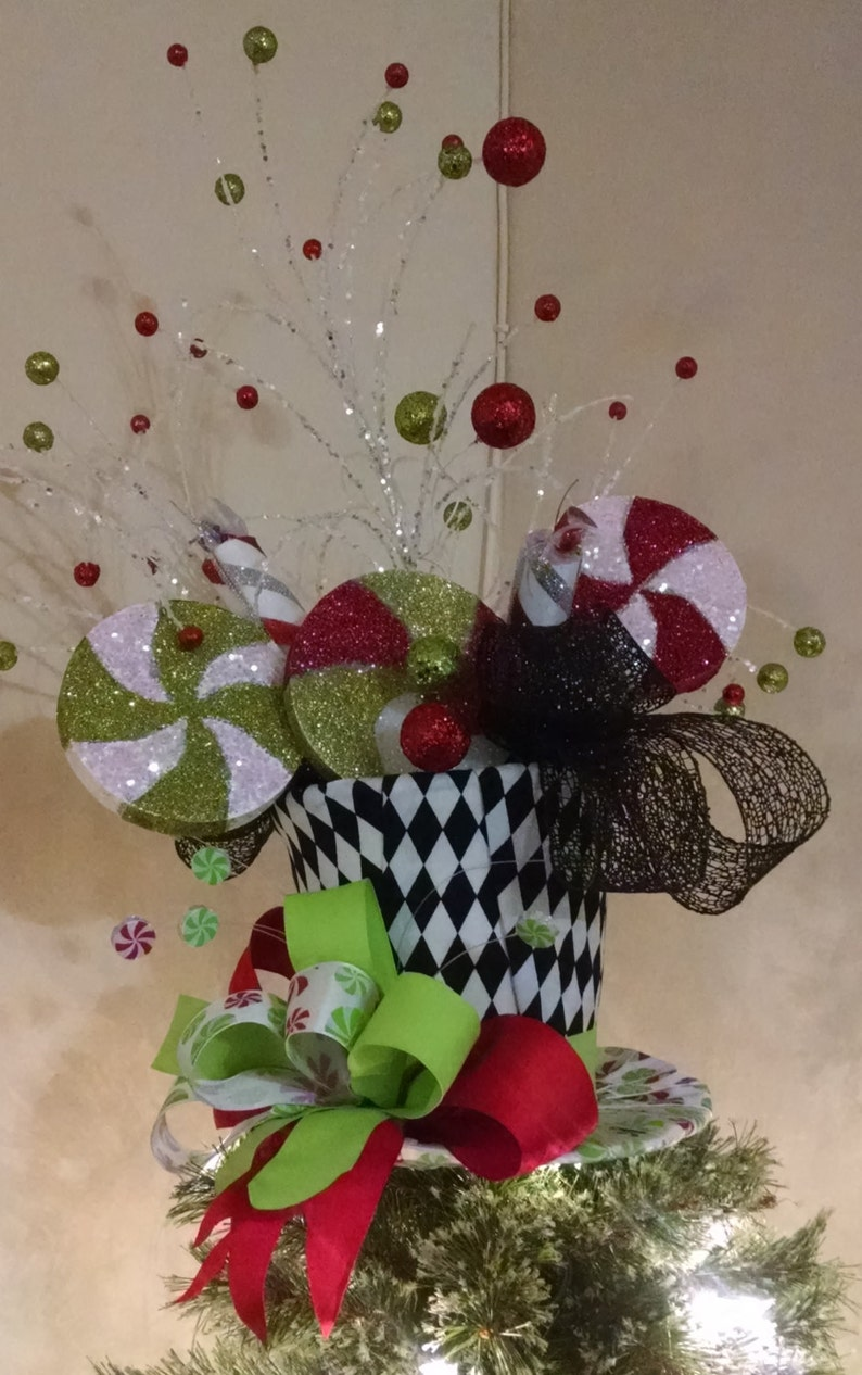 789c2f8f4a1c2 Extra Large Christmas Tree Topper Whimsical Peppermint Top