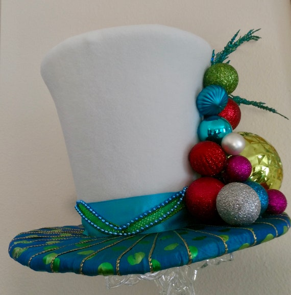 Turquoise Blue Lime Green And Red Top Hat Tree Topper Christmas Decoration Christmas Top Hat Tree Topper Top Hat Centerpiece