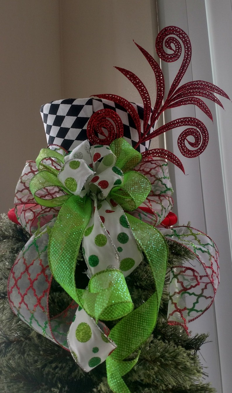 Tree Topper Bow Whimsical Top Hat Christmas Tree Topper Christmas Decoration Tree Topper Top Hat Top Hat Tree Topper