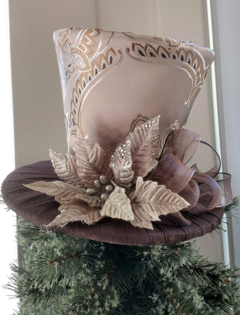 557544b998473 Gold and Brown Tree Topper Christmas Tree Topper Top Hat