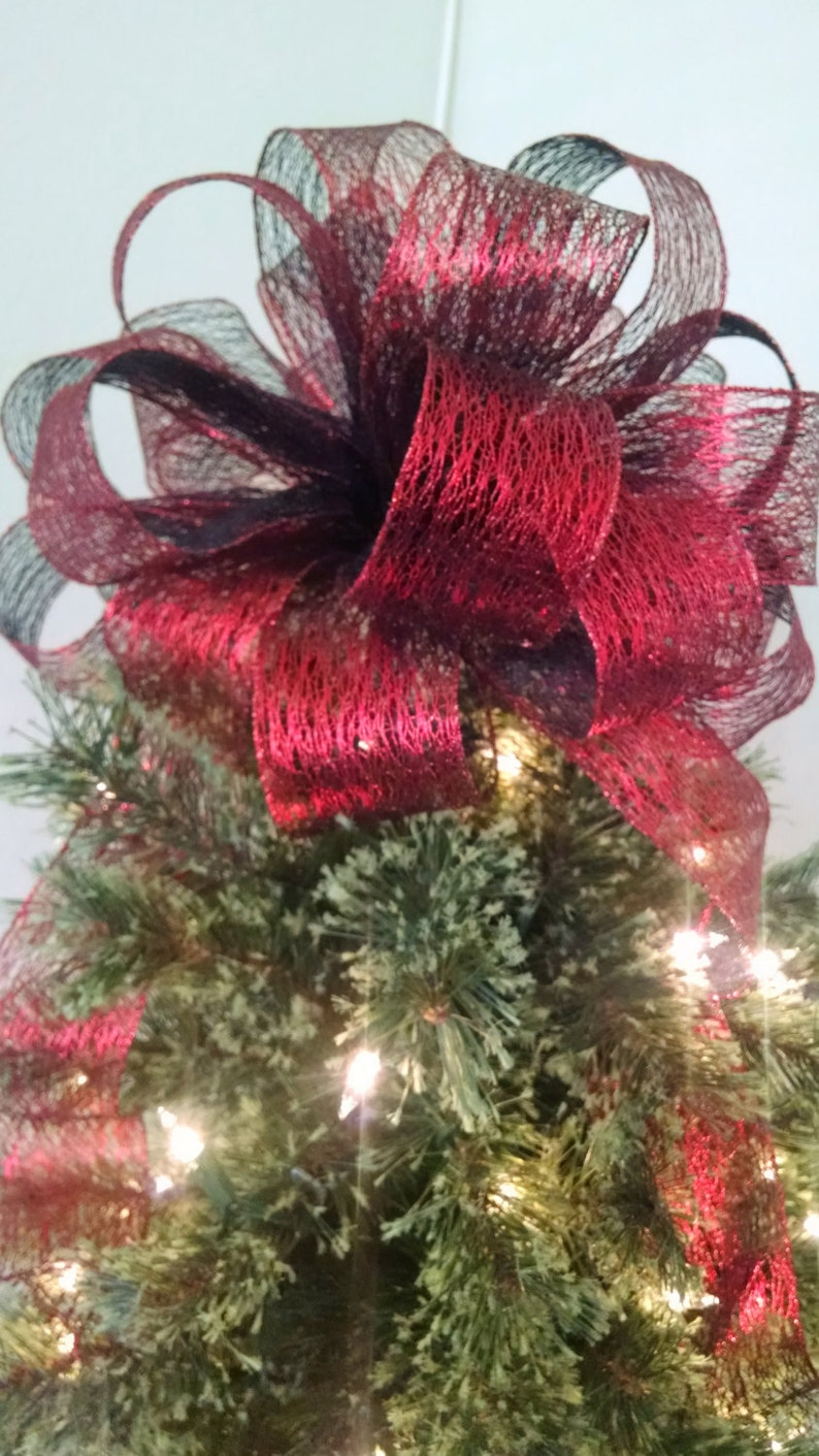 Red Tree Topper Bow Christmas Tree Topper Topper Bow Holiday Decoration Large Gift Bow Red Christmas Bow Holiday Bow