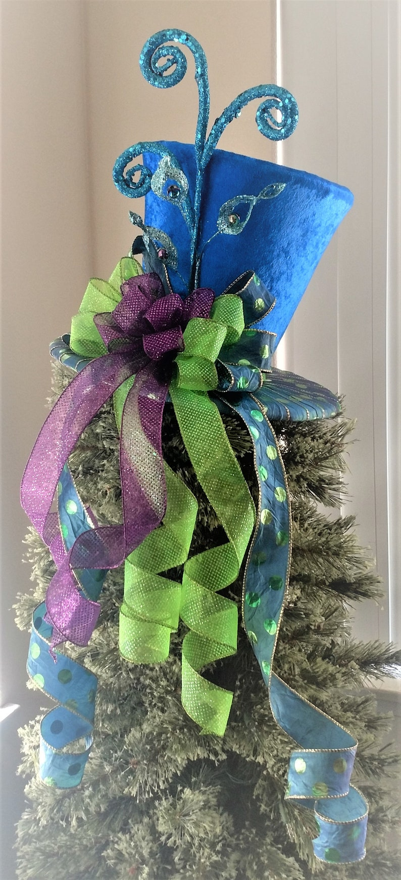 Whimsical Top Hat Peacock Christmas Tree Topper Tree Topper Bow Tree Topper Top Hat Centerpiece Christmas Decoration Ready To Ship