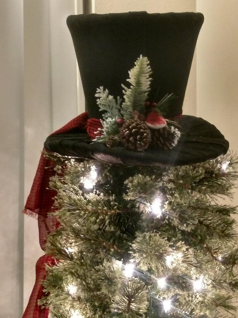 Black Top Hat Christmas Tree Topper Tree Topper Bow Tree Topper Top Hat Centerpiece Christmas Decoration