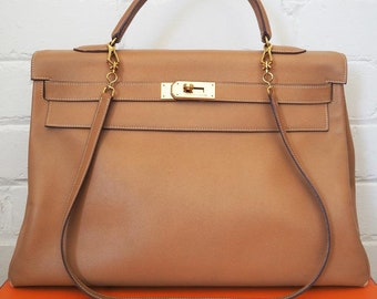 02e91bc61cf Hermes Kelly Bag 40 Natural Courchevel Leather with Strap 1991