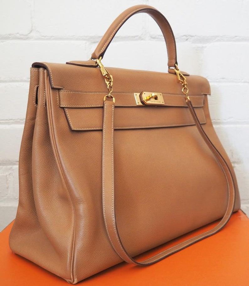 a2575f069e95 Hermes Kelly Bag 40 Natural Courchevel Leather with Strap 1991