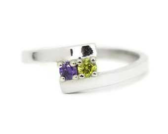 Sterling Silver Personalized 2 or 3 Stone ByPass Birthstone Family Ring For Couples or Mother