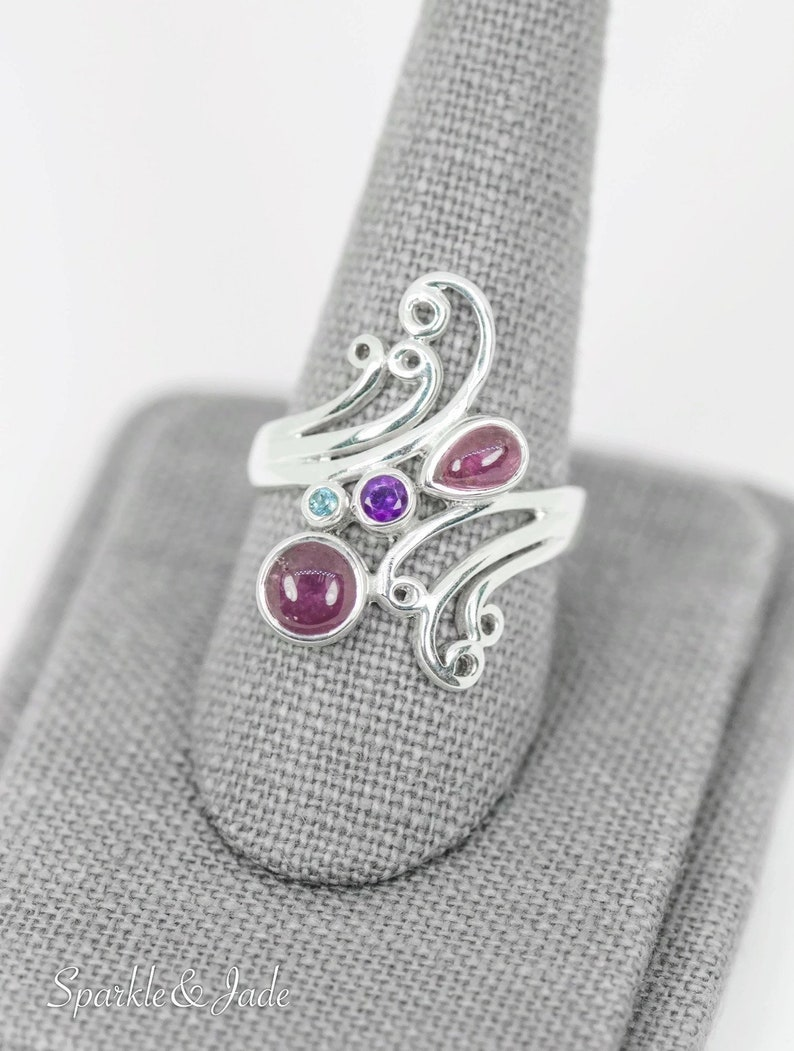 Sterling Silver Genuine Pink Tourmaline Amethyst and Blue Topaz Swirl Statement Filigree Design Ring