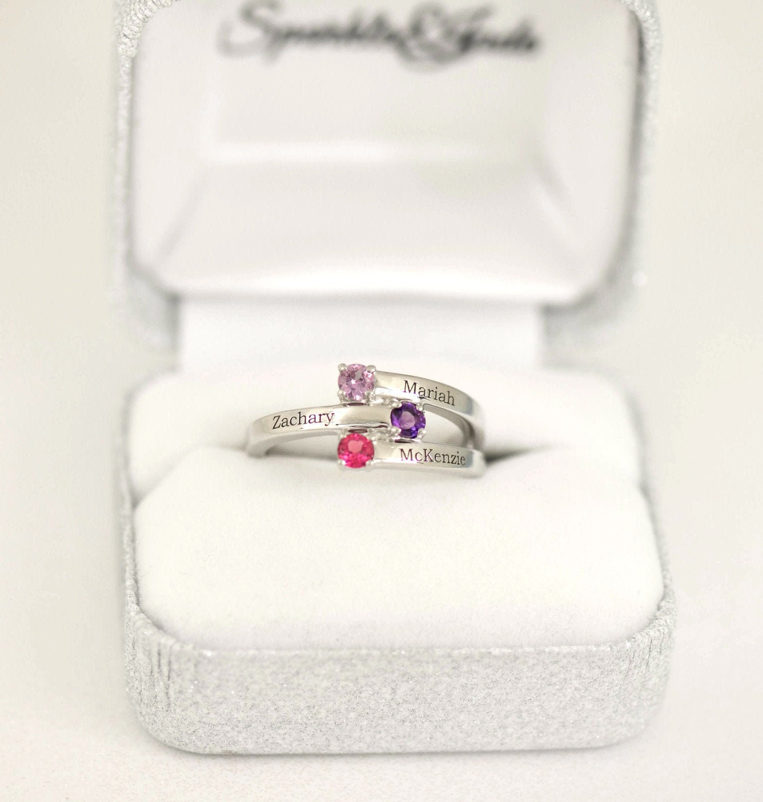 Sterling Silver /& 14k Two-stone and Diamond Mothers Ring Semi-Mount Size 7 Length Width 4