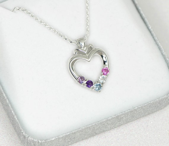 Sterling Silver 3 Stone Custom Simulated Birthstone Heart Pendant 16, 18 or 20