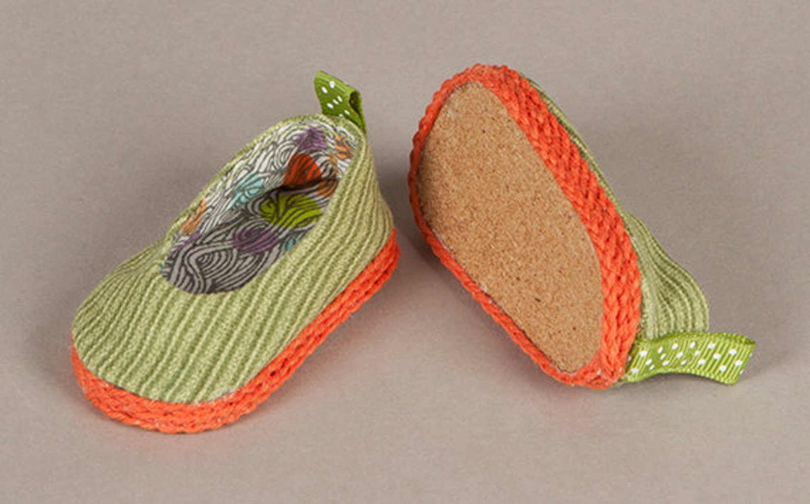 sale! - handmade footwear - ballet flats - lime green and orange! - fits 18