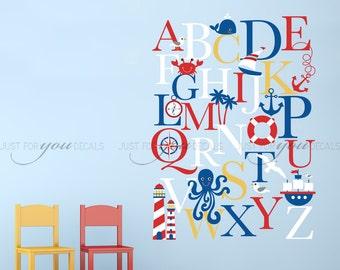 Alphabet Wall Decal - Alphabet Decal - Nautical Nursery Wall Decals - Playroom Wall Decal - Play Room Wall Decal - Wall Sticker - 01-0035