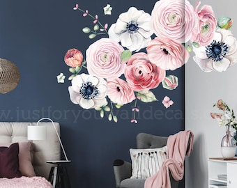 LARGE FLOWER SET   Flower Wall Decal, Floral Wall Decal, Watercolor Wall  Decals, Flower Wall Stickers, Watercolor Flower Wall Decal, 04 0008