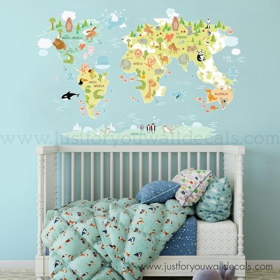 World Map Wall Decal Kids.Map Of World Wall Decal Kids Map Wall Decal Map Wall Decal Etsy