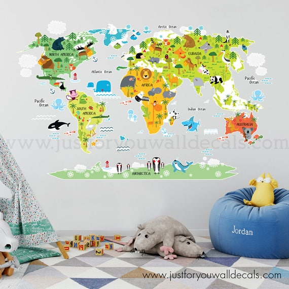 World Map Wall Decal Kids.World Map Wall Decal Kids Map Wall Decal Map Wall Decal Map Etsy