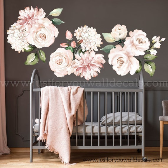 large flower set flower wall decal floral wall decal | etsy