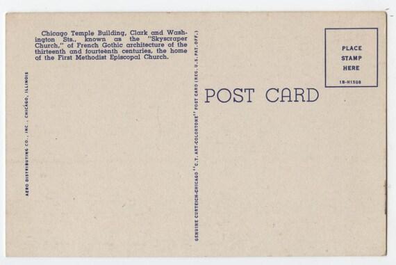 First Methodist Church Vintage Post Card The Chicago Temple Chicago Curt Teich Postcard