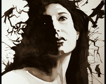 Custom Non-Traditional watercolor portrait, single subject , black and white