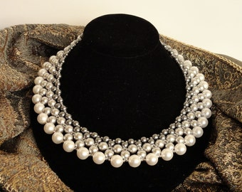 Shades of Grey Pearl Collar