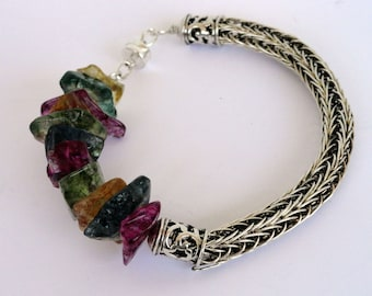 Gemstone Viking Knit Bracelet