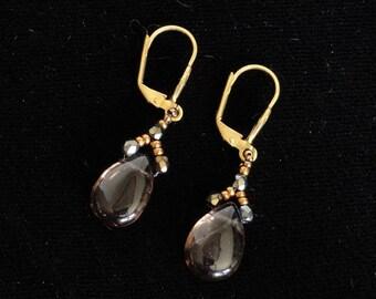 Art Deco Earrings in Gold/Smoky Quartz