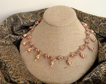 Great Gatsby Beaded Copper Necklace