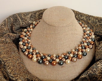 Copper Sunrise Pearl Collar
