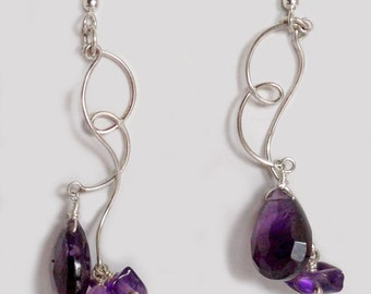 Amethyst and Sterling Earring Drops