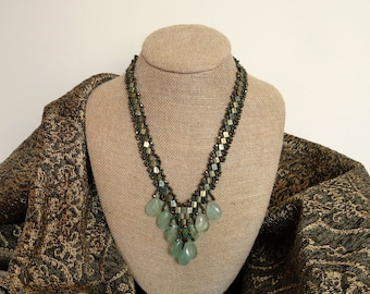 Art Deco Necklace in Teal