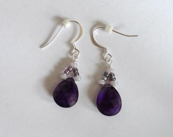 Art Deco Earrings in Amethyst