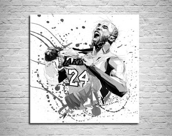 252ac4d2fa5 CANVAS PRINT Basketball Poster, Basketball gift Sports fan poster, Kobe  Poster, Black and White Man Cave Art, Boys room Decor, Gift for him