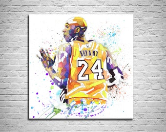 quality design 0270c 63ab7 CANVAS PRINT Basketball Poster, Mamba Out Sports fan gift, K B Poster,  Watercolor painting, Kobe Contemporary Abstract Drawing 000