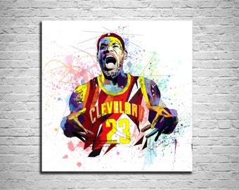 CANVAS PRINT Basketball Art Sports Illustration, L J Basketball Art, Sports poster, Modern Abstract Drawing, Sports Decor