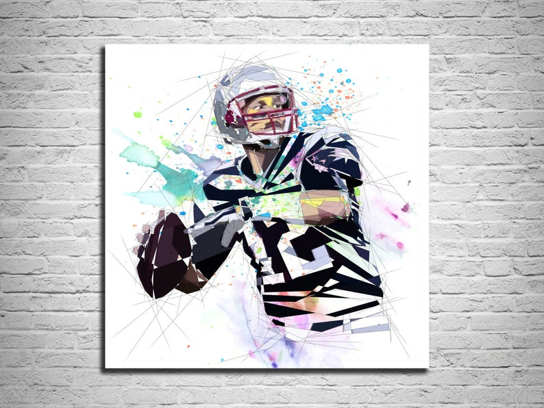 06940b7032e CANVAS PRINT Football Art Football Poster Tom Brady Sports
