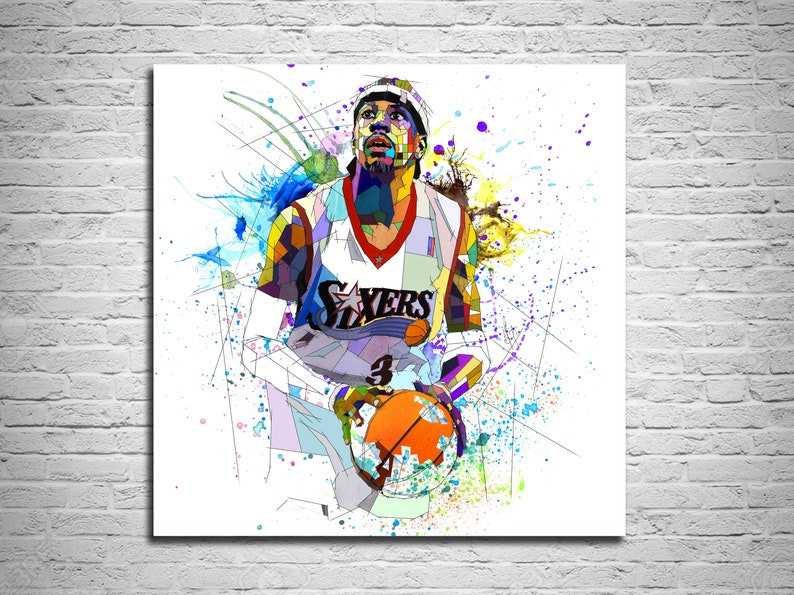 481b5cb9b0229 Basketball Poster CANVAS PRINT, Allen Iverson Watercolor Sports  Illustration Print, Basketball Player Poster, Contemporary Drawing 000