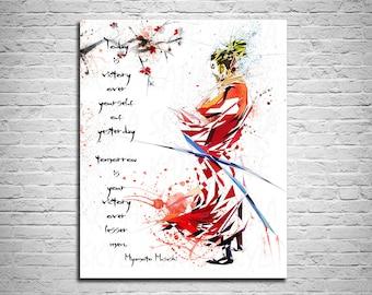 CANVAS PRINT Samurai Poster, Samurai Art, Office Decor, Man Cave Contemporary Wall Art, Modern Wall Art, Abstract Home Decor