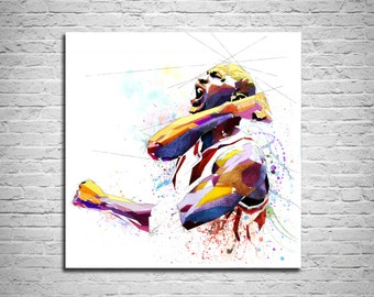 CANVAS PRINT Michael Jordan Basketball Art Print, Sports Fan Gift, Man Cave Wall Art, Boys Teen Room Decor, Basketball gift NBA-MJ02
