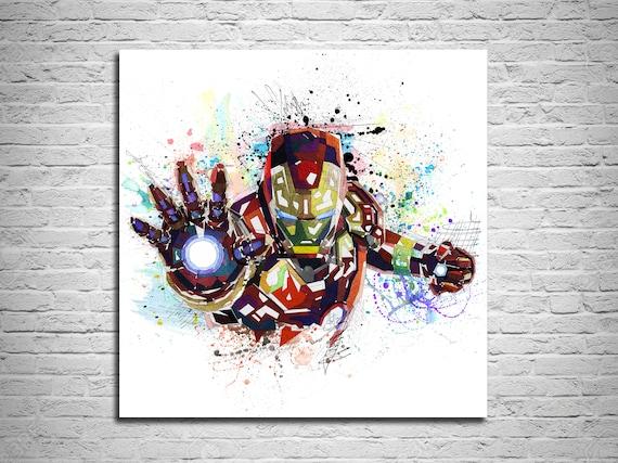 XMY:593 xmydeshoop Superhelden Aquarell Stil Poster Iron Man Hulk Hohe Qualit/ät Leinwand Malerei Hohe Qualit/ät Home Decoration No Frame 50X70Cm