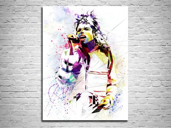 CANVAS ART Michael Jackson Watercolor Painting Canvas Print | Etsy