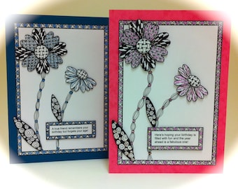 Dimensional Tangle Card Blanks (10 Patterns and 14 Video Tutorials)