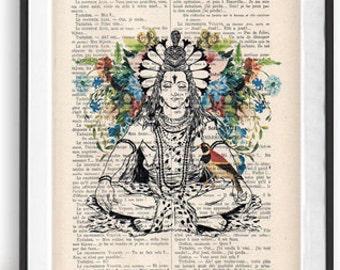 fc87c7f53 Retro Shiva Bird Botanical Flowers Yoga poster Meditating Zen Wall Hindusim  Art Vintage Book Dictionary Art Print Artwork Poster Print