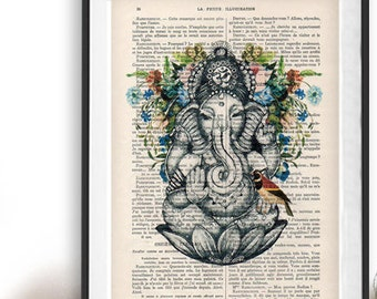 Retro Ganesha Bird Botanical Flowers Yoga poster Meditating Buddha Zen Wall Art Vintage Book Dictionary Art Print Artwork Poster Print