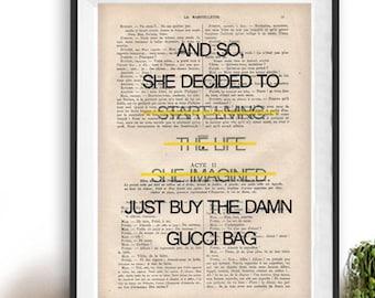 c0a4bafaf4f88 Buy Chanel Bag living art print Typography Posters Home decor | Etsy