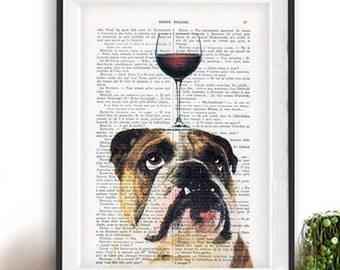English Bulldog Print, Bulldog with wine glass, French design, black and white,bulldog poster Art Print on recycled french book page