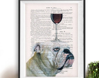 English Bulldog Poster, Bulldog with wine glass, French design, black and white,bulldog poster Art Print on recycled french book page