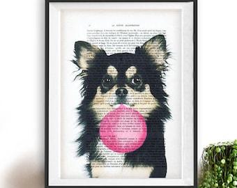 Chihuahua print, Chihuahua art, bubblegum, dog with bubblegum, vintage paper, dog poster, dog print, dog illustration, dog drawing