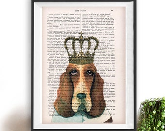 Basset Hound Poster, Hush puppy art, Dog Artwork, Basset Hound Art Print, Gift for Him, Red, Office Wall Art, Wall Decor, Home Decor